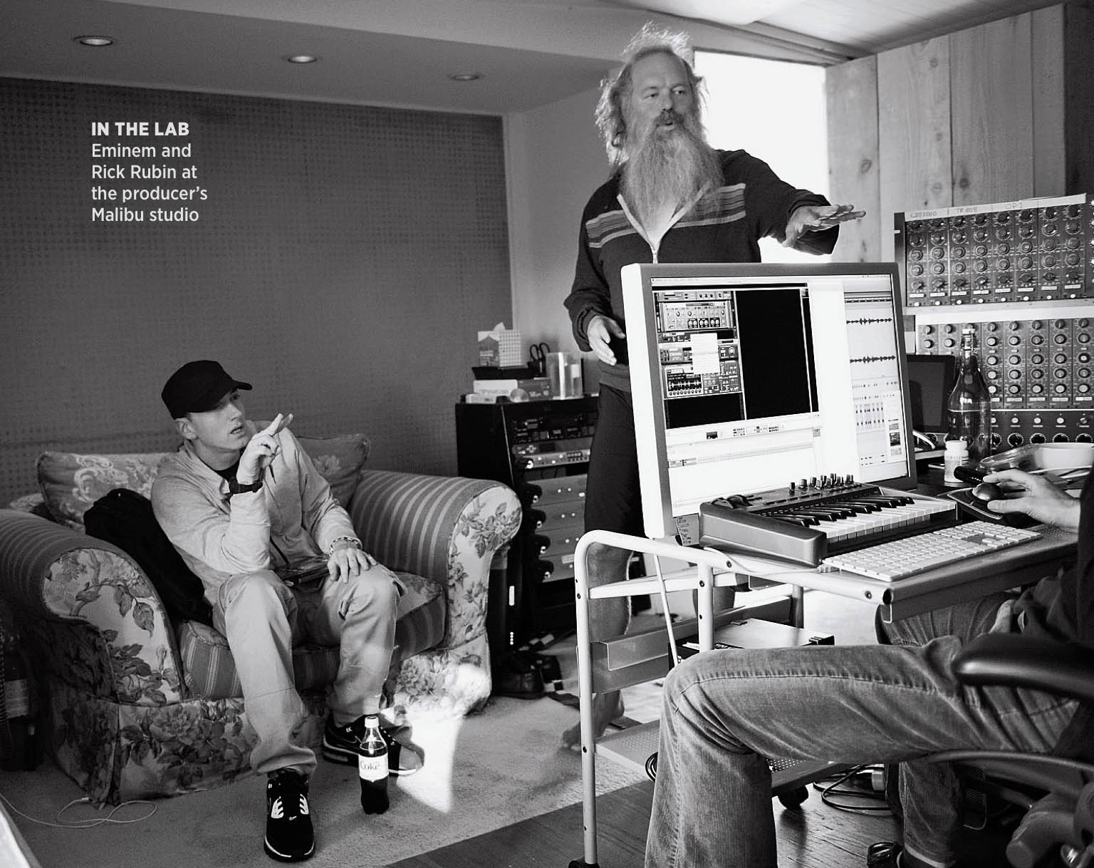 Legendary Music Producer Rick Rubin in the studio with Eminem