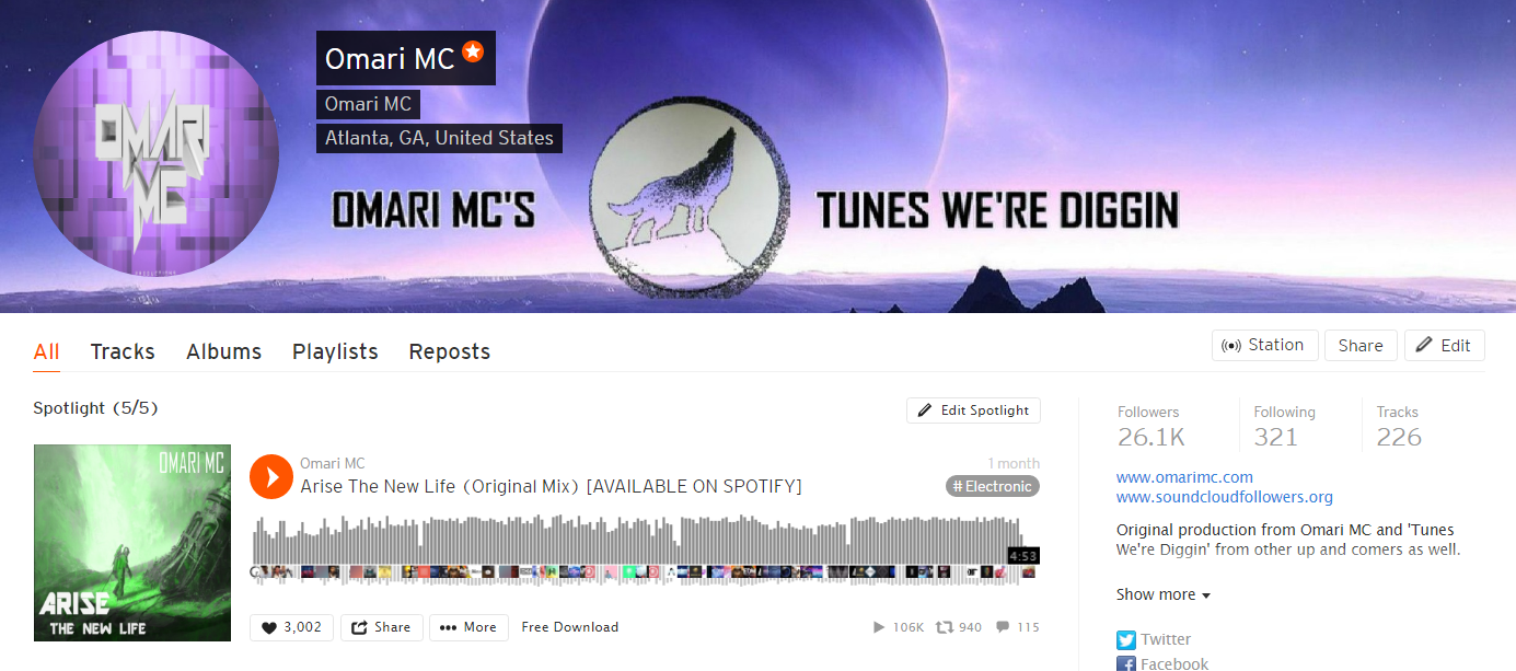 SoundCloud stats for Omari MC