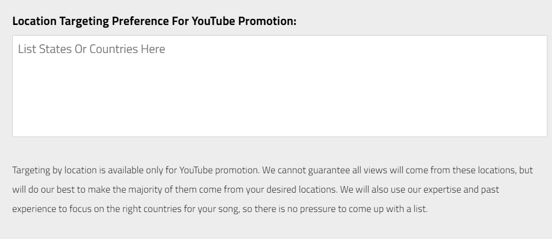 youtube location targeting music promotion